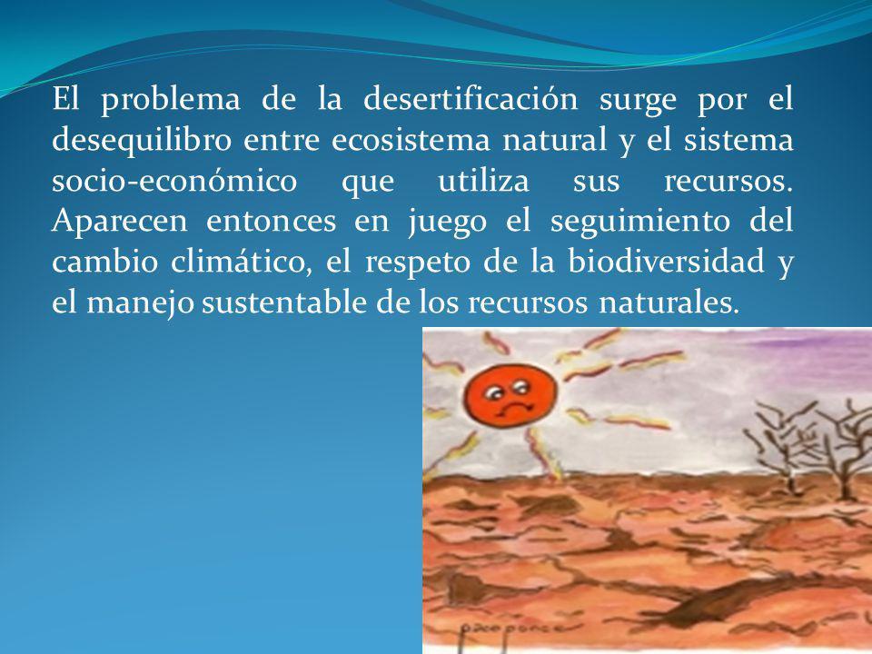 El problema de la desertificación surge por el desequilibro entre ecosistema natural y el sistema socio-económico que utiliza sus recursos. Aparecen e