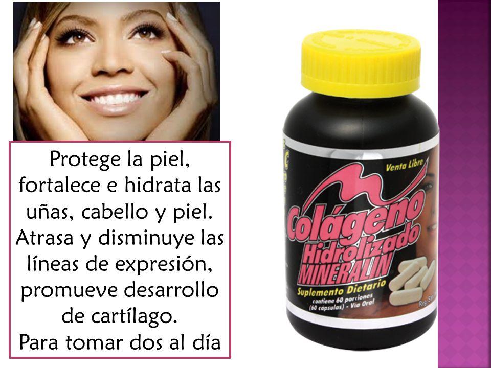 Dos capsulas aportan Gelatina hidrolizada…………………………………………..850 mg Vitamina C………………………………………………………50 mg Cobre………………………………………………………………1mg Silicio………………………………………………………………3 mg Boro……………………………………………………………….3 mg Zinc………………………………………………………………..2 mg Hierro……………………………………………………………..5 mg Manganeso……………………………………………………….2 mg