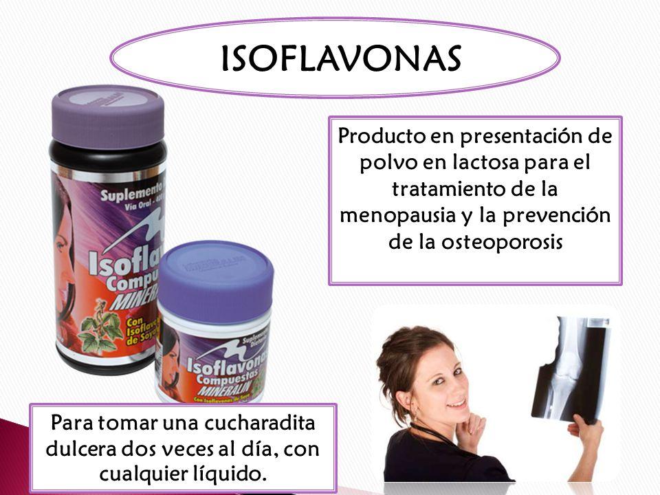 ISOFLAVONAS……………….80 MG Vitamina D3…………………1000 UI Vitamina C…………………..60 MG Vitamina K………………..400MCG Calcio……………………….800MG Magnesio……………………400MG Cinc…………………………....15MG Silicio …………………………20MG Selenio………………………100MCG Fluor…………………………….2 MG Cobre……………………………1 MG Manganeso……………………...5MG