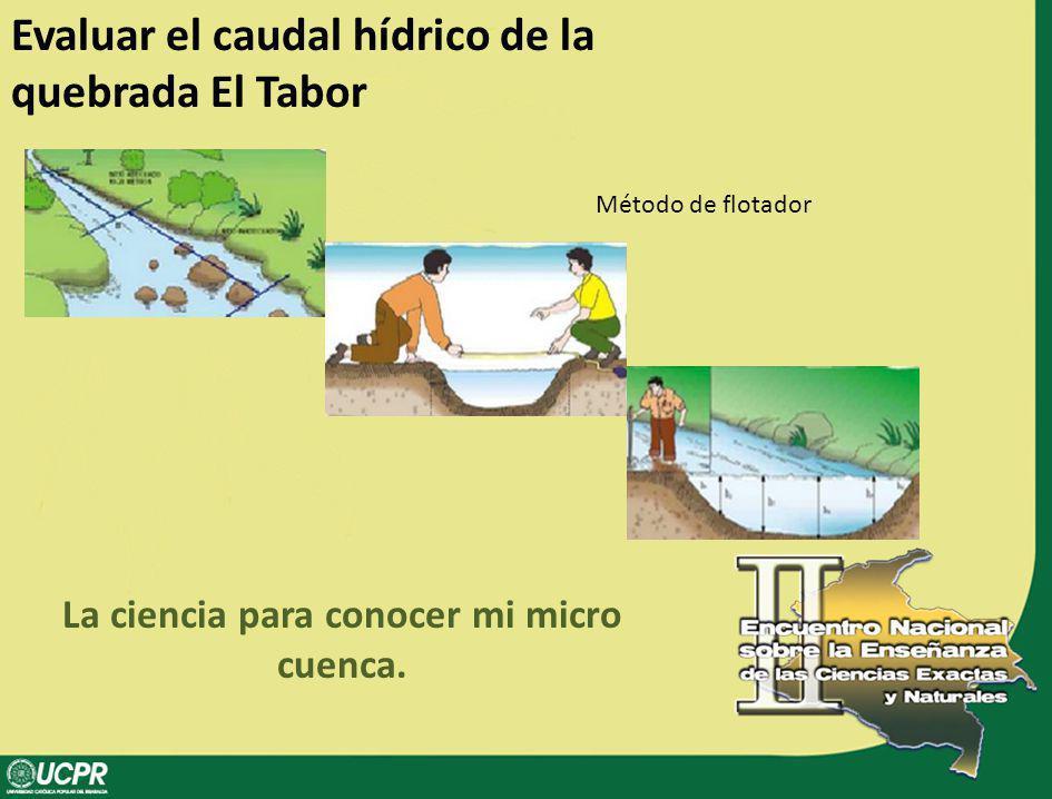 Evaluar el caudal hídrico de la quebrada El Tabor La ciencia para conocer mi micro cuenca. Método de flotador