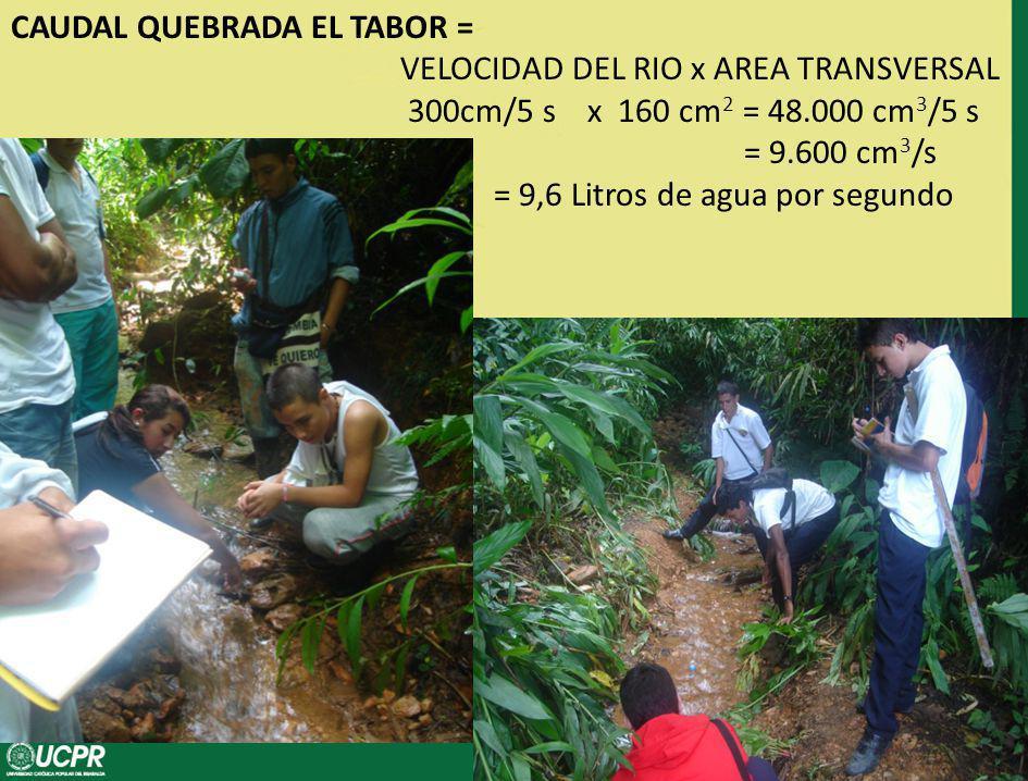 CAUDAL QUEBRADA EL TABOR = VELOCIDAD DEL RIO x AREA TRANSVERSAL 300cm/5 s x 160 cm 2 = 48.000 cm 3 /5 s = 9.600 cm 3 /s = 9,6 Litros de agua por segundo