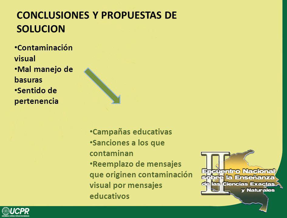 CONCLUSIONES Y PROPUESTAS DE SOLUCION Contaminación visual Mal manejo de basuras Sentido de pertenencia Campañas educativas Sanciones a los que contam
