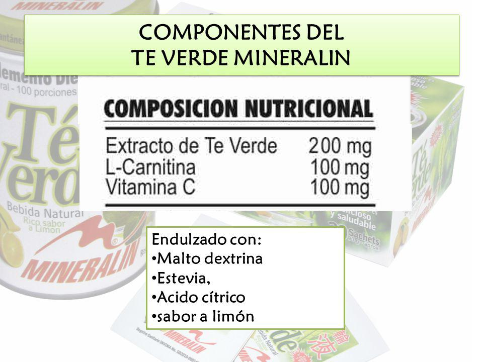 COMPONENTES DEL TE VERDE MINERALIN Endulzado con: Malto dextrina Estevia, Acido cítrico sabor a limón