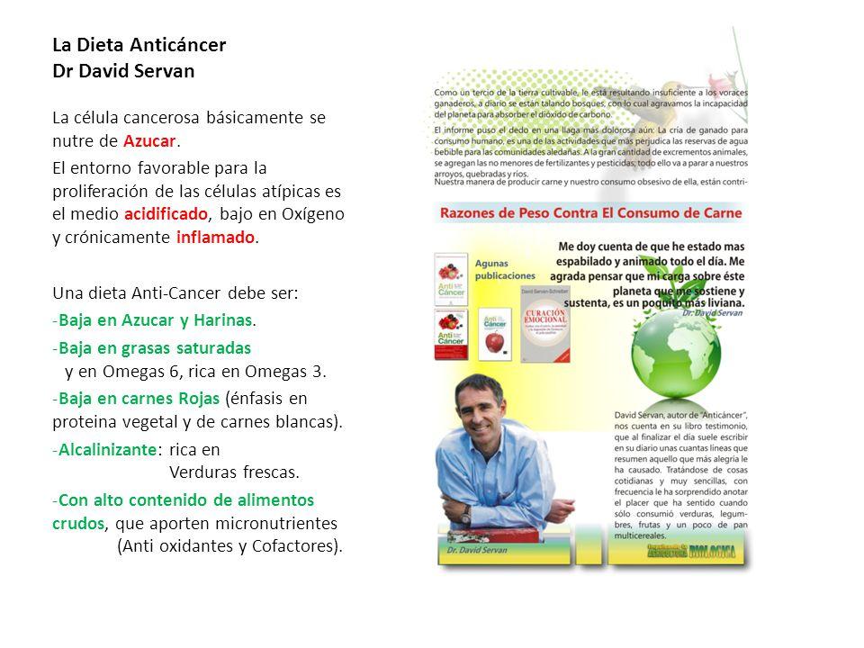 La Dieta Anticáncer Dr David Servan La célula cancerosa básicamente se nutre de Azucar. El entorno favorable para la proliferación de las células atíp