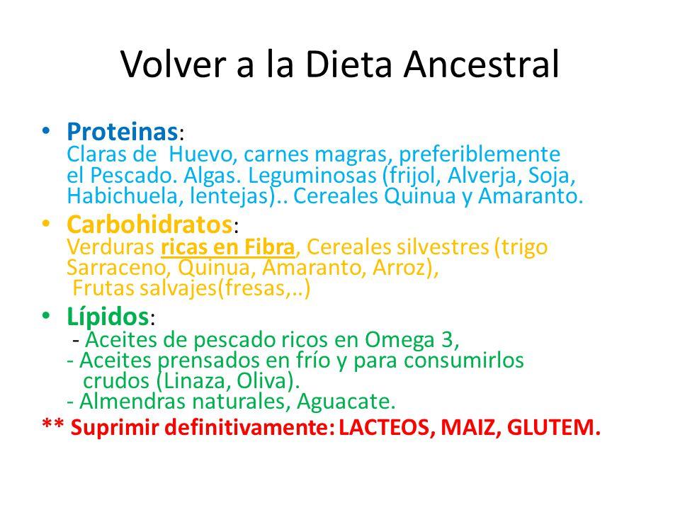 Volver a la Dieta Ancestral Proteinas : Claras de Huevo, carnes magras, preferiblemente el Pescado. Algas. Leguminosas (frijol, Alverja, Soja, Habichu