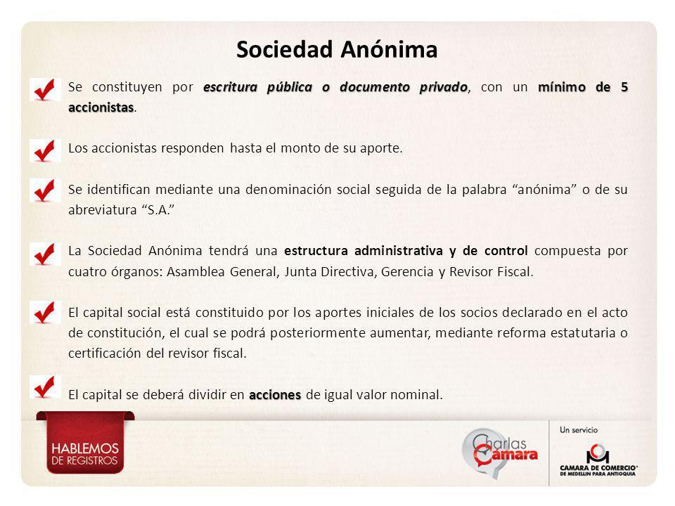 Sociedad Anónima escritura pública o documento privadomínimo de 5 accionistas Se constituyen por escritura pública o documento privado, con un mínimo