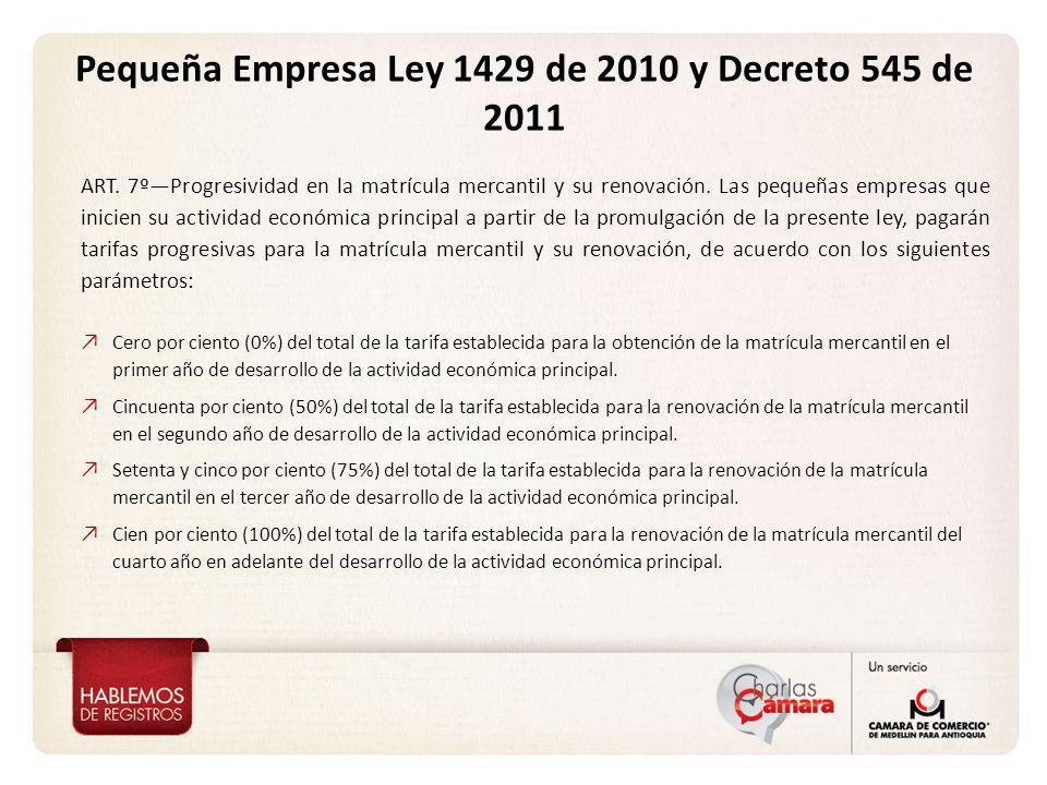 Pequeña Empresa Ley 1429 de 2010 y Decreto 545 de 2011 ART. 7ºProgresividad en la matrícula mercantil y su renovación. Las pequeñas empresas que inici