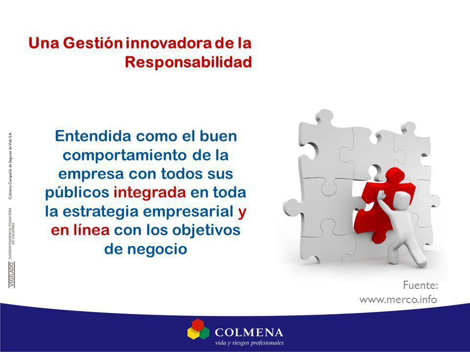 Entendida como el buen comportamiento de la empresa con todos sus públicos integrada en toda la estrategia empresarial y en línea con los objetivos de negocio Una Gestión innovadora de la Responsabilidad Fuente: www.merco.info