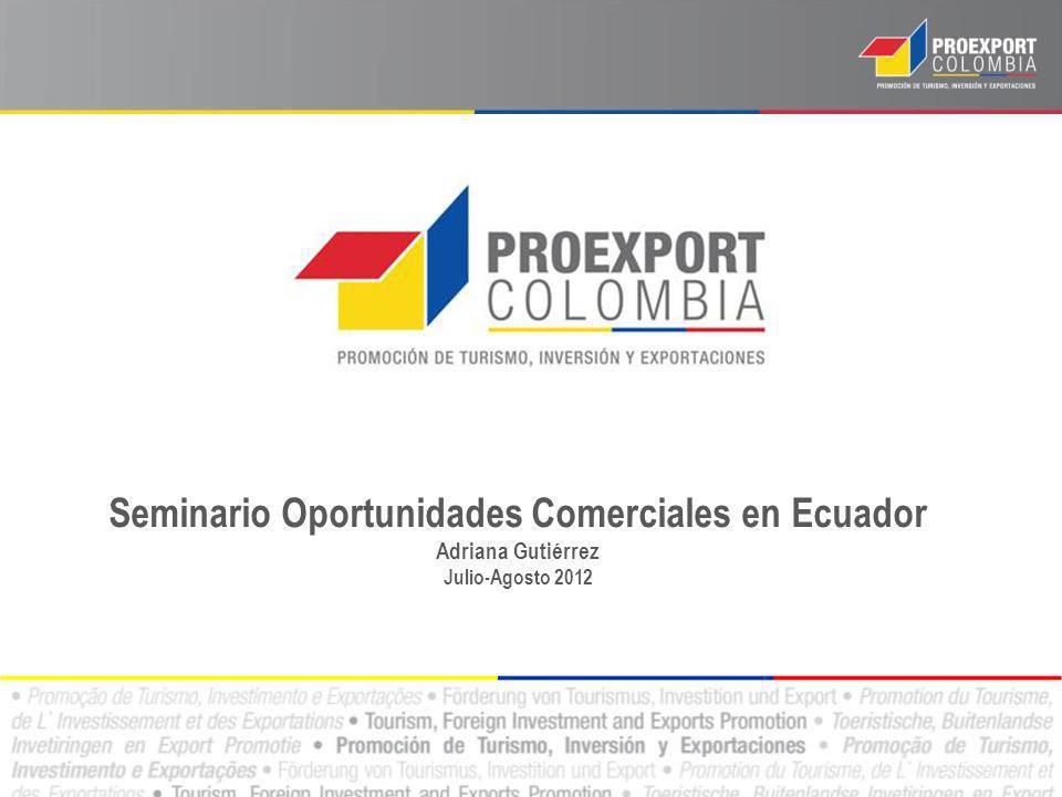 Seminario Oportunidades Comerciales en Ecuador Adriana Gutiérrez Julio-Agosto 2012
