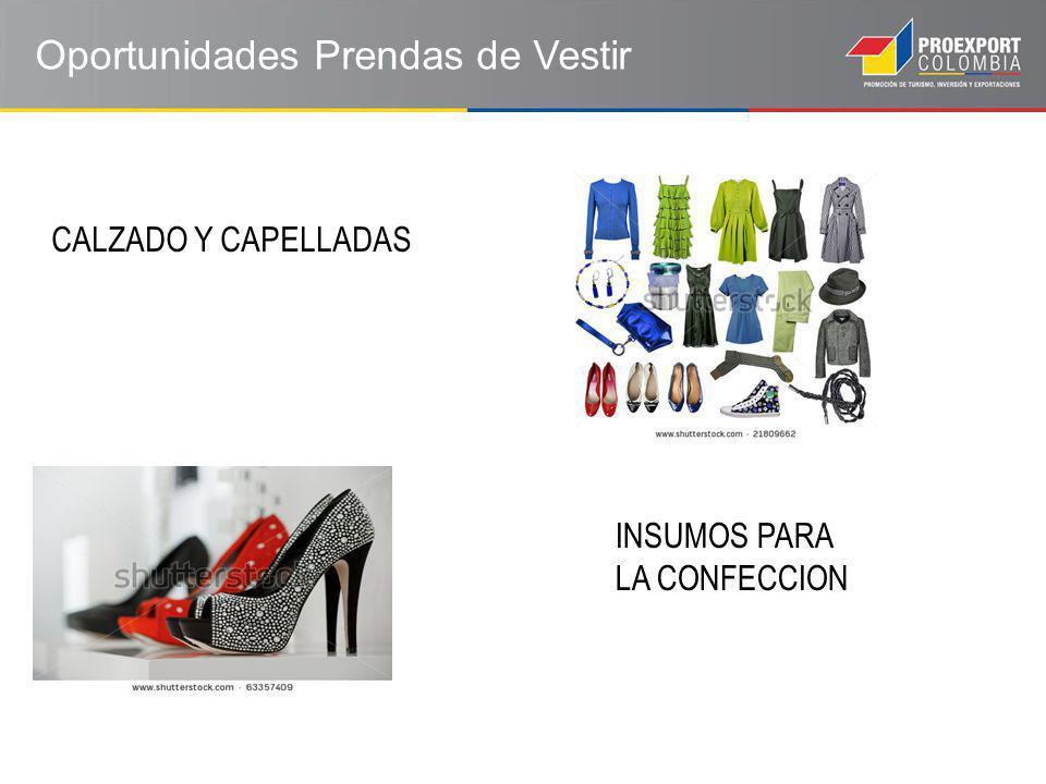 Oportunidades Prendas de Vestir CALZADO Y CAPELLADAS INSUMOS PARA LA CONFECCION