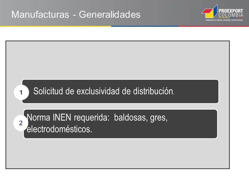 Solicitud de exclusividad de distribución. Norma INEN requerida: baldosas, gres, electrodomésticos.