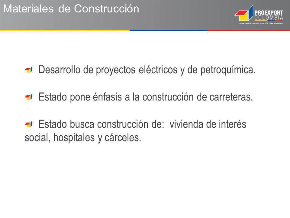 Materiales de Construcción Desarrollo de proyectos eléctricos y de petroquímica.