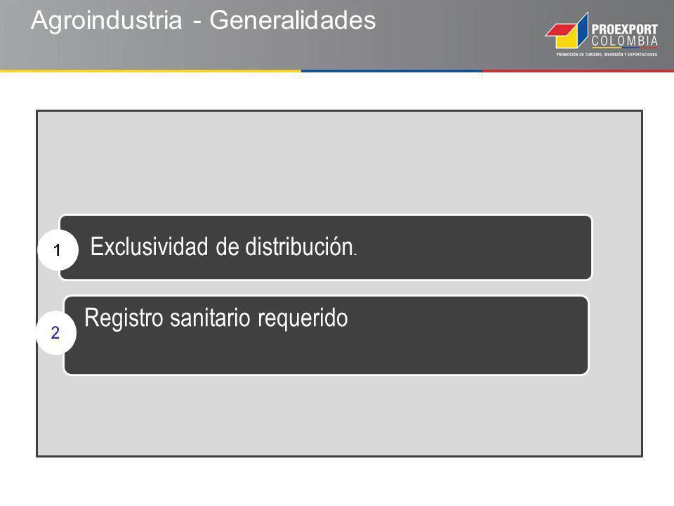 Exclusividad de distribución. Registro sanitario requerido Agroindustria - Generalidades