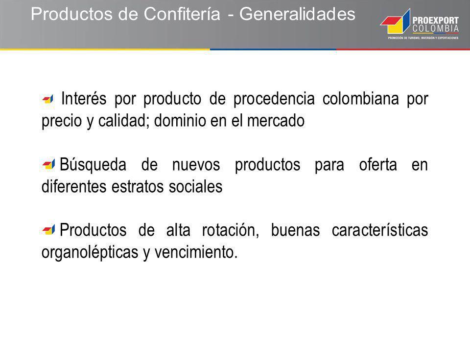 Productos de Confitería - Generalidades Interés por producto de procedencia colombiana por precio y calidad; dominio en el mercado Búsqueda de nuevos productos para oferta en diferentes estratos sociales Productos de alta rotación, buenas características organolépticas y vencimiento.