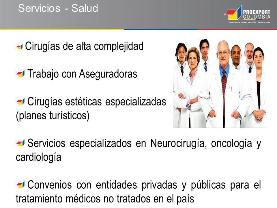 Servicios - Salud Cirugías de alta complejidad Trabajo con Aseguradoras Cirugías estéticas especializadas (planes turísticos) Servicios especializados en Neurocirugía, oncología y cardiología Convenios con entidades privadas y públicas para el tratamiento médicos no tratados en el país
