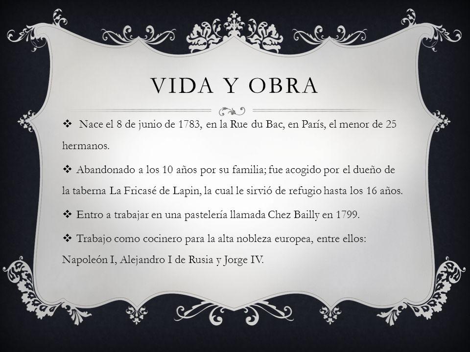 VIDA Y OBRA Nace el 8 de junio de 1783, en la Rue du Bac, en París, el menor de 25 hermanos. Abandonado a los 10 años por su familia; fue acogido por