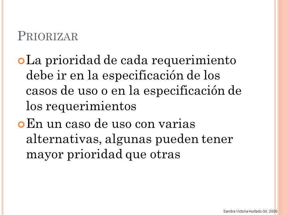 Sandra Victoria Hurtado Gil, 2009 P RIORIZAR La prioridad de cada requerimiento debe ir en la especificación de los casos de uso o en la especificació