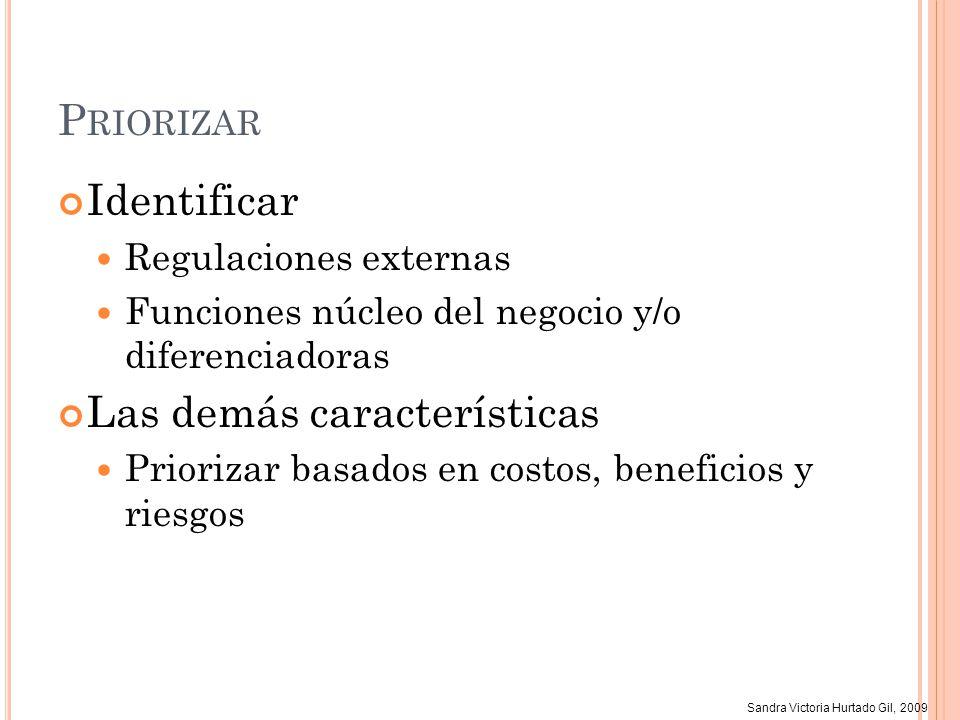 Sandra Victoria Hurtado Gil, 2009 P RIORIZAR Identificar Regulaciones externas Funciones núcleo del negocio y/o diferenciadoras Las demás característi