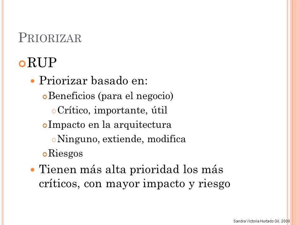 Sandra Victoria Hurtado Gil, 2009 P RIORIZAR RUP Priorizar basado en: Beneficios (para el negocio) Crítico, importante, útil Impacto en la arquitectur