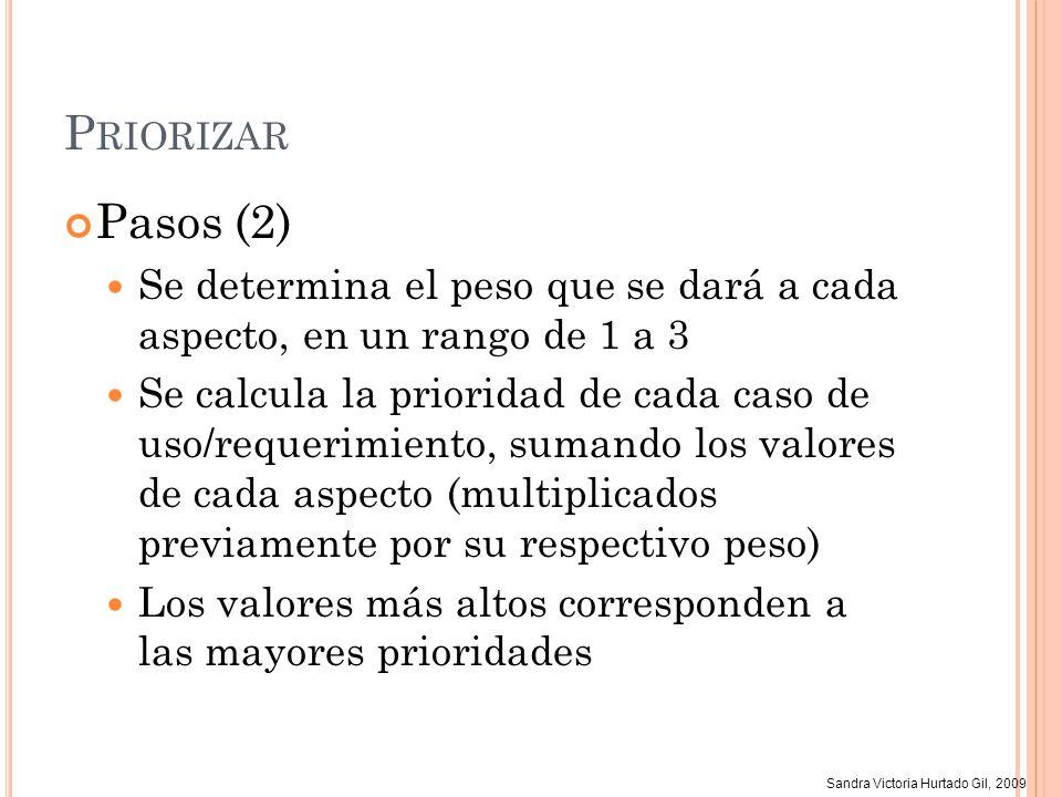 Sandra Victoria Hurtado Gil, 2009 P RIORIZAR Pasos (2) Se determina el peso que se dará a cada aspecto, en un rango de 1 a 3 Se calcula la prioridad d
