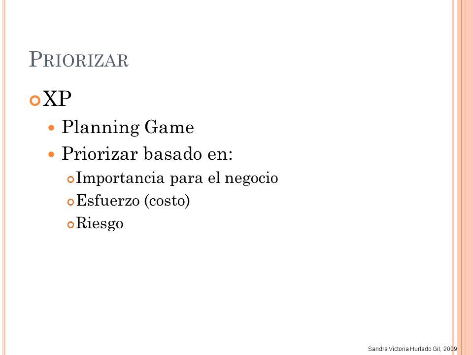 Sandra Victoria Hurtado Gil, 2009 P RIORIZAR XP Planning Game Priorizar basado en: Importancia para el negocio Esfuerzo (costo) Riesgo
