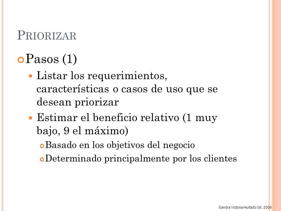 Sandra Victoria Hurtado Gil, 2009 P RIORIZAR Pasos (1) Listar los requerimientos, características o casos de uso que se desean priorizar Estimar el be