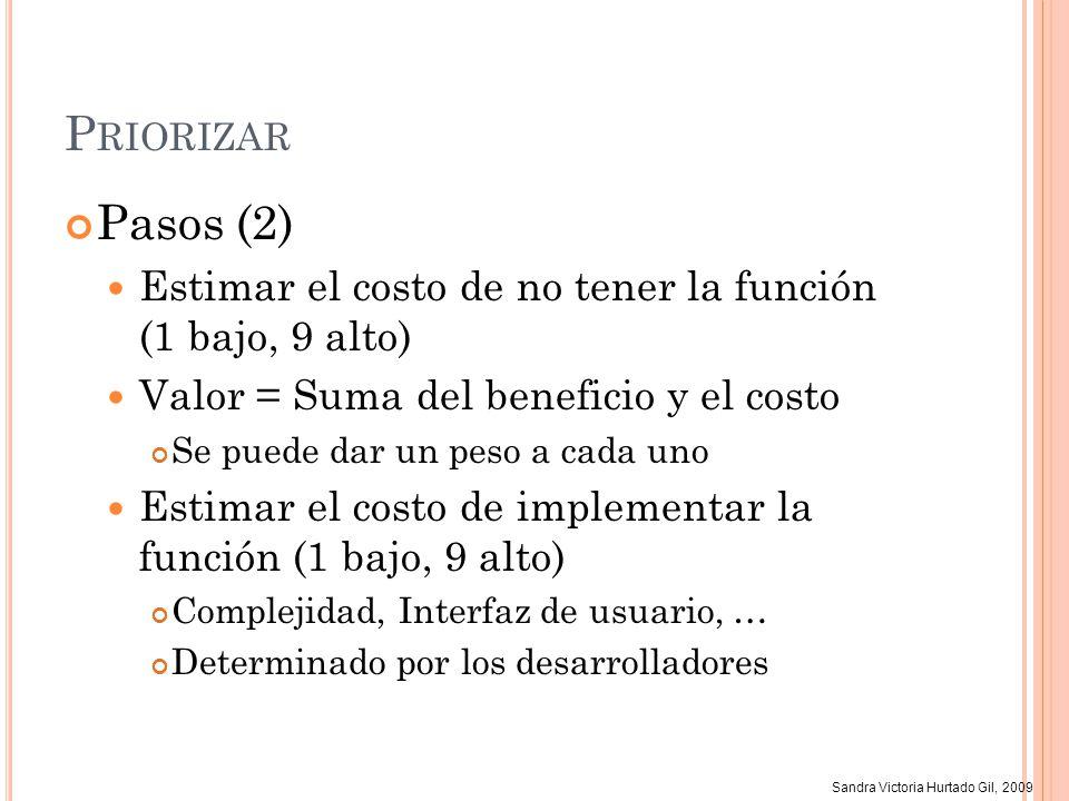 Sandra Victoria Hurtado Gil, 2009 P RIORIZAR Pasos (2) Estimar el costo de no tener la función (1 bajo, 9 alto) Valor = Suma del beneficio y el costo