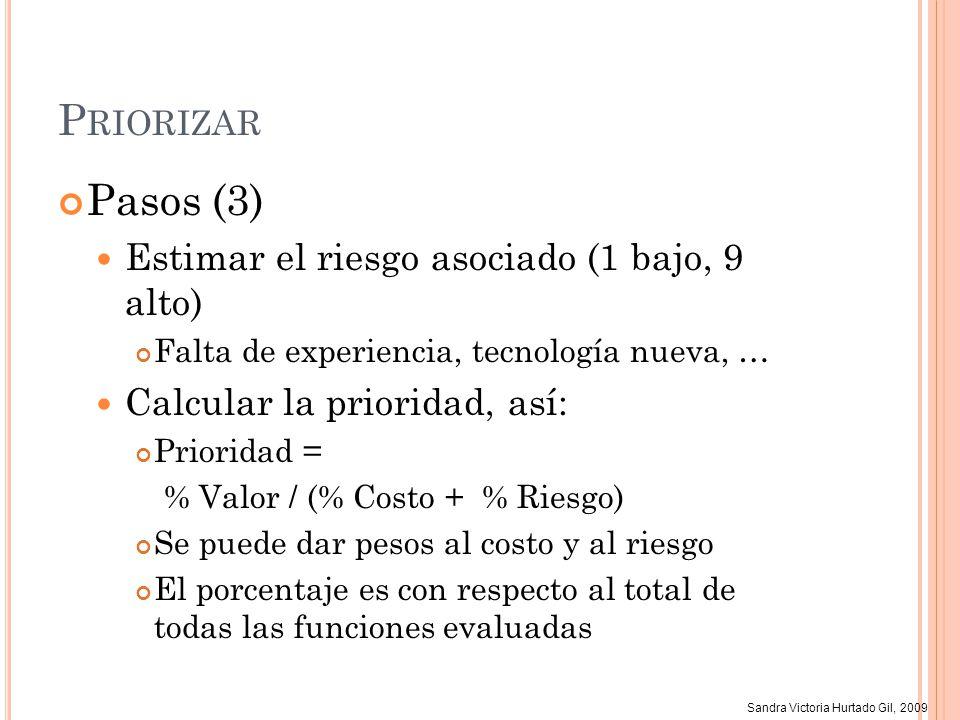Sandra Victoria Hurtado Gil, 2009 P RIORIZAR Pasos (3) Estimar el riesgo asociado (1 bajo, 9 alto) Falta de experiencia, tecnología nueva, … Calcular