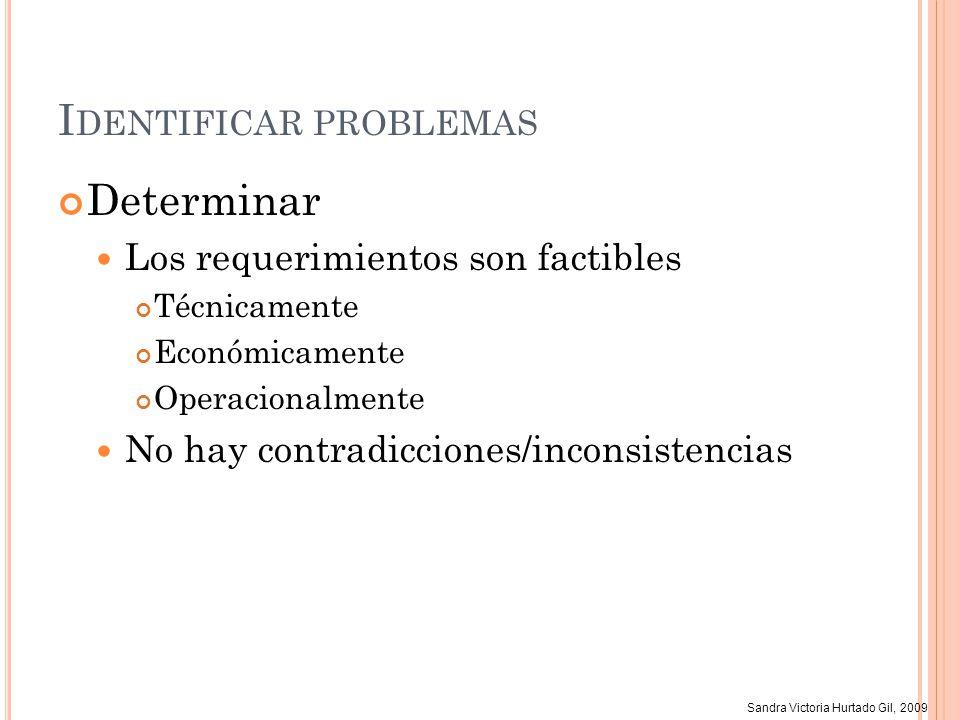 Sandra Victoria Hurtado Gil, 2009 I DENTIFICAR PROBLEMAS Determinar Los requerimientos son factibles Técnicamente Económicamente Operacionalmente No h