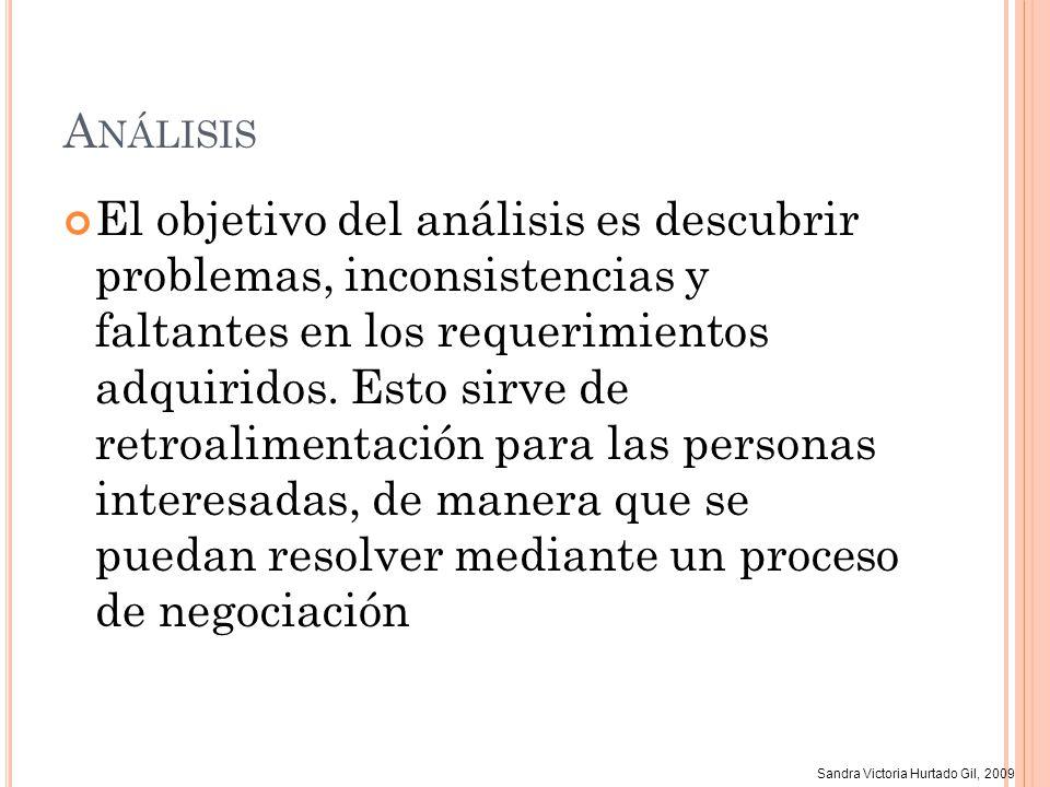 Sandra Victoria Hurtado Gil, 2009 A NÁLISIS El objetivo del análisis es descubrir problemas, inconsistencias y faltantes en los requerimientos adquiri
