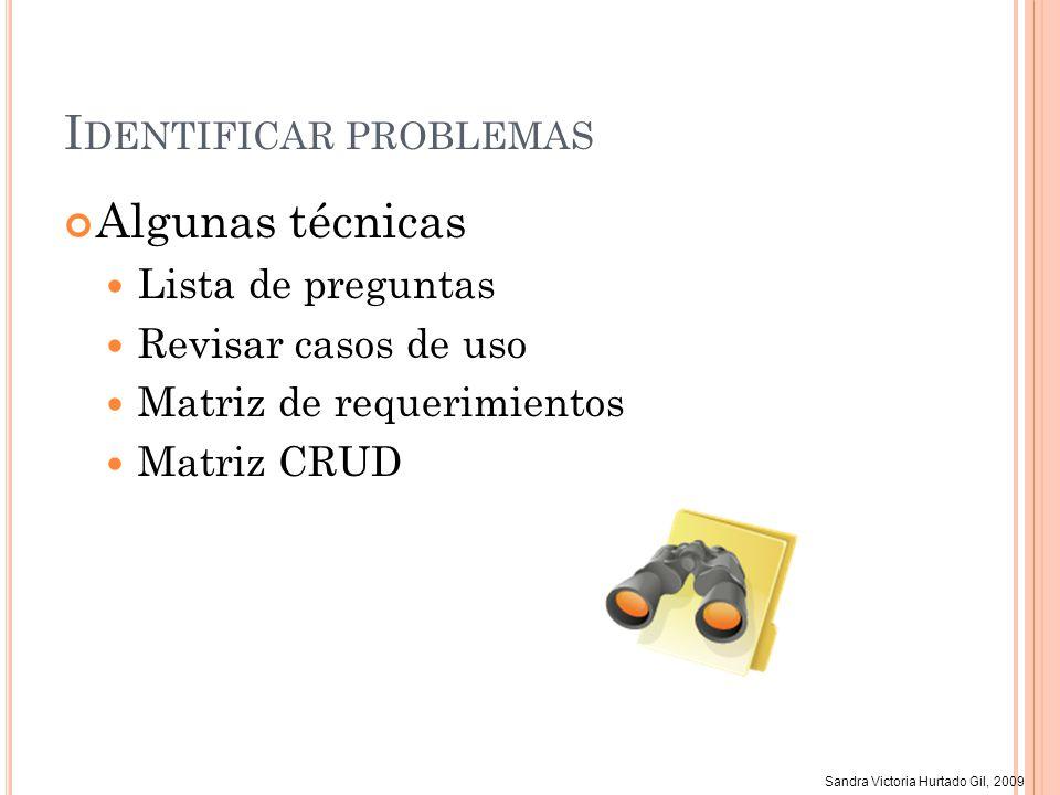 Sandra Victoria Hurtado Gil, 2009 I DENTIFICAR PROBLEMAS Algunas técnicas Lista de preguntas Revisar casos de uso Matriz de requerimientos Matriz CRUD