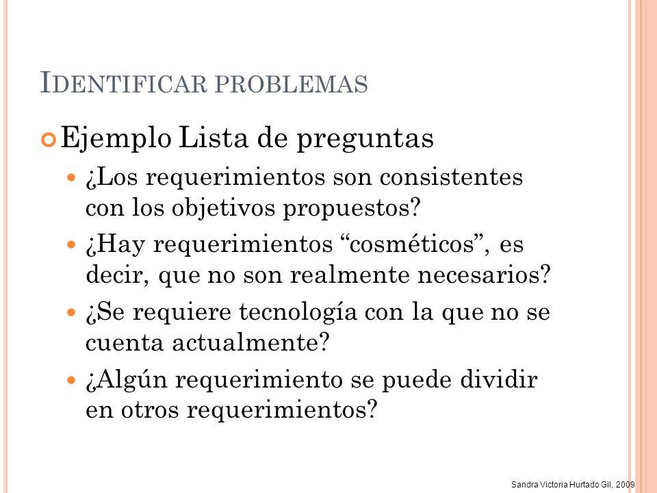 Sandra Victoria Hurtado Gil, 2009 I DENTIFICAR PROBLEMAS Ejemplo Lista de preguntas ¿Los requerimientos son consistentes con los objetivos propuestos?