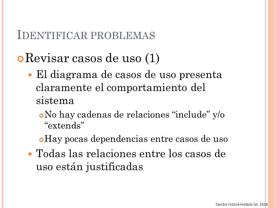 Sandra Victoria Hurtado Gil, 2009 I DENTIFICAR PROBLEMAS Revisar casos de uso (1) El diagrama de casos de uso presenta claramente el comportamiento de