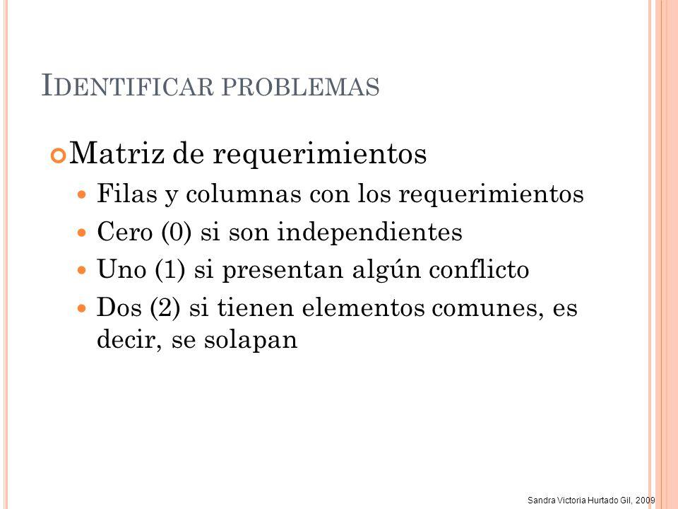 Sandra Victoria Hurtado Gil, 2009 I DENTIFICAR PROBLEMAS Matriz de requerimientos Filas y columnas con los requerimientos Cero (0) si son independient