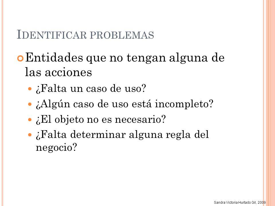 Sandra Victoria Hurtado Gil, 2009 I DENTIFICAR PROBLEMAS Entidades que no tengan alguna de las acciones ¿Falta un caso de uso? ¿Algún caso de uso está