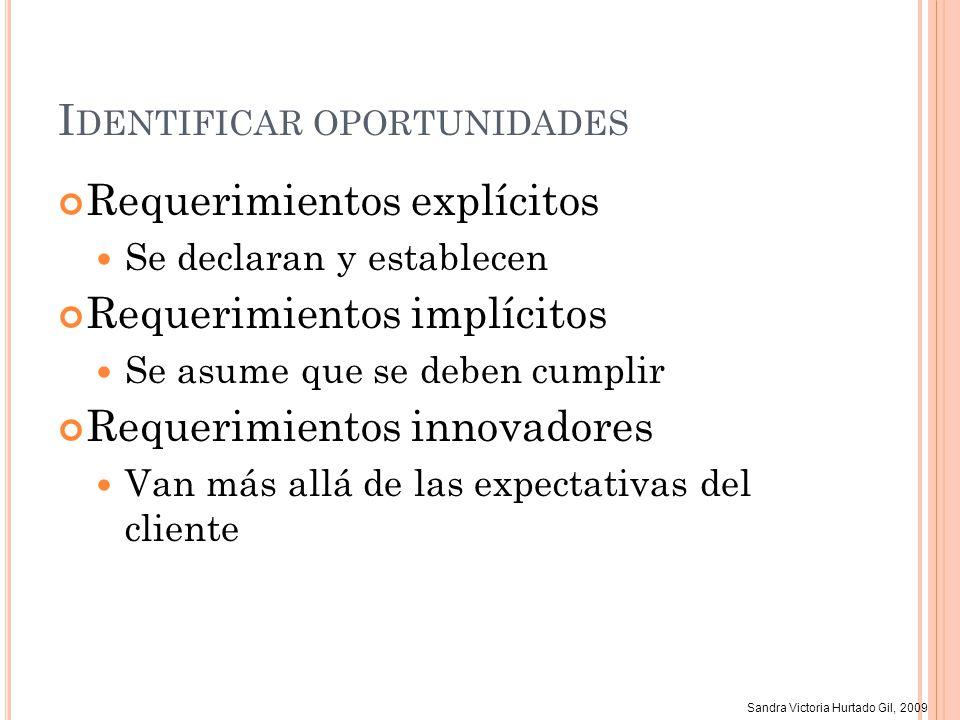 Sandra Victoria Hurtado Gil, 2009 I DENTIFICAR OPORTUNIDADES Requerimientos explícitos Se declaran y establecen Requerimientos implícitos Se asume que