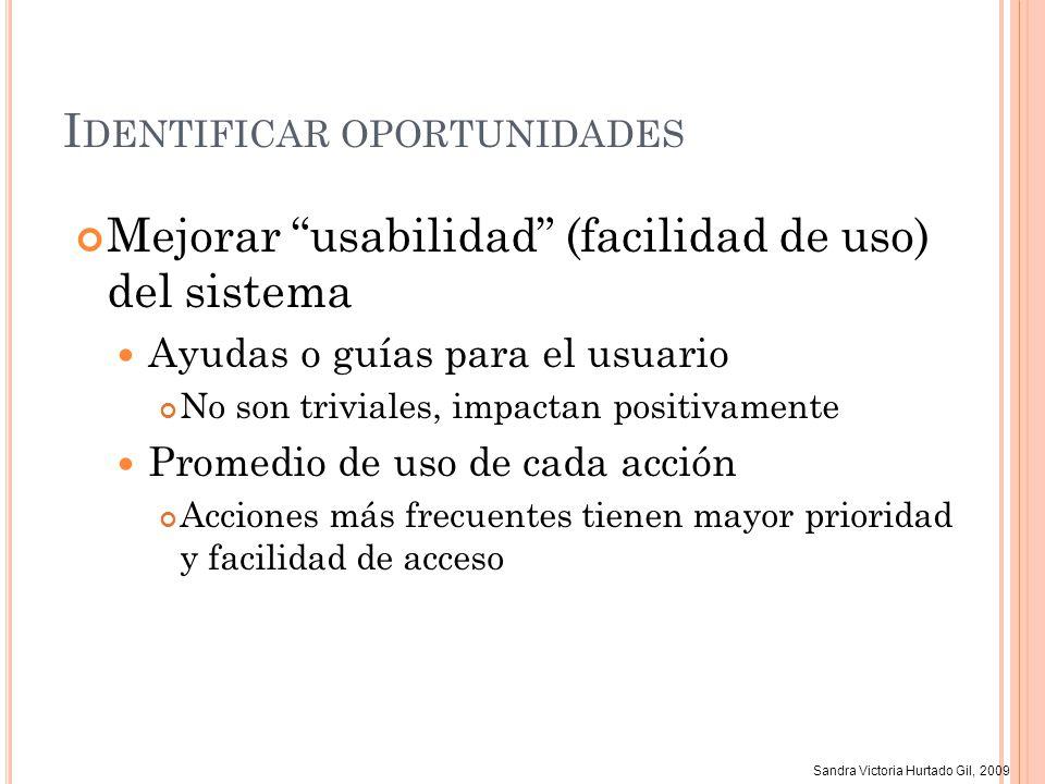 Sandra Victoria Hurtado Gil, 2009 I DENTIFICAR OPORTUNIDADES Mejorar usabilidad (facilidad de uso) del sistema Ayudas o guías para el usuario No son t