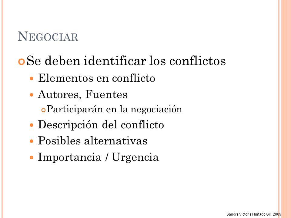 Sandra Victoria Hurtado Gil, 2009 N EGOCIAR Se deben identificar los conflictos Elementos en conflicto Autores, Fuentes Participarán en la negociación
