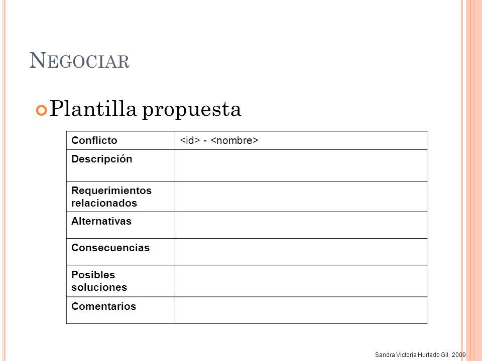 Sandra Victoria Hurtado Gil, 2009 N EGOCIAR Plantilla propuesta Conflicto - Descripción Requerimientos relacionados Alternativas Consecuencias Posible