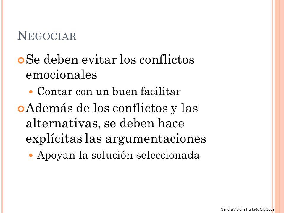 Sandra Victoria Hurtado Gil, 2009 N EGOCIAR Se deben evitar los conflictos emocionales Contar con un buen facilitar Además de los conflictos y las alt