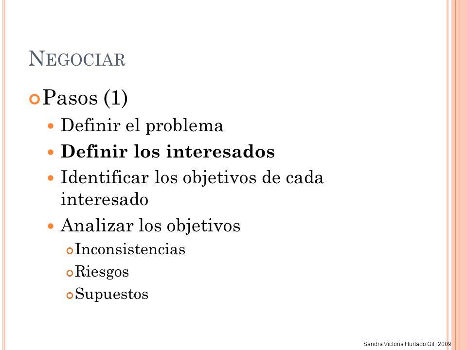 Sandra Victoria Hurtado Gil, 2009 N EGOCIAR Pasos (1) Definir el problema Definir los interesados Identificar los objetivos de cada interesado Analiza