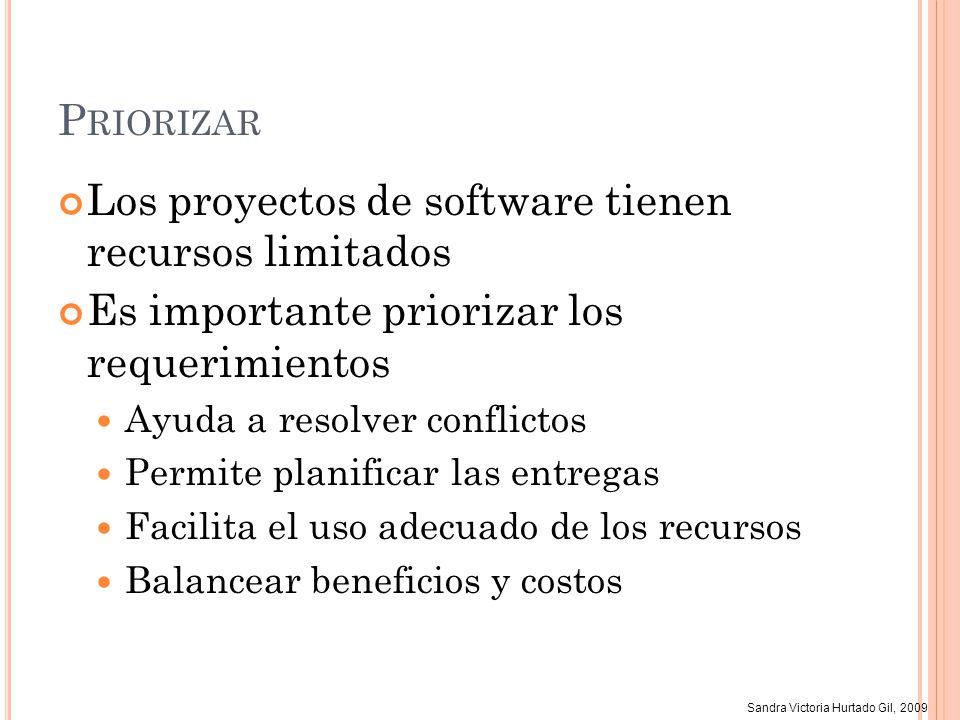 Sandra Victoria Hurtado Gil, 2009 P RIORIZAR Los proyectos de software tienen recursos limitados Es importante priorizar los requerimientos Ayuda a re