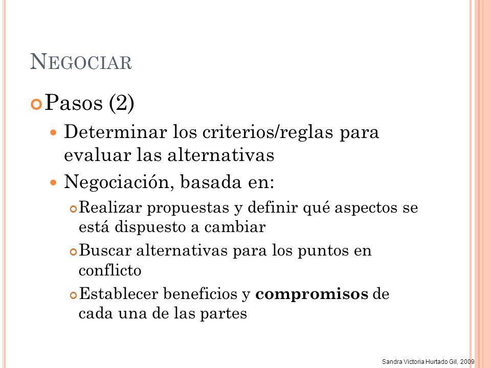 Sandra Victoria Hurtado Gil, 2009 N EGOCIAR Pasos (2) Determinar los criterios/reglas para evaluar las alternativas Negociación, basada en: Realizar p