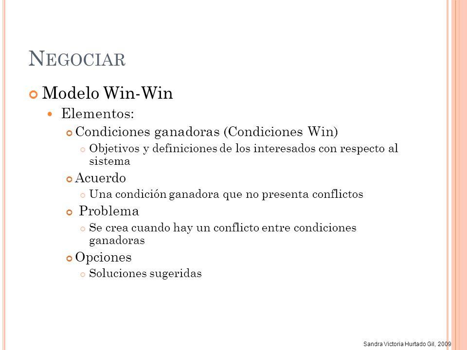 Sandra Victoria Hurtado Gil, 2009 N EGOCIAR Modelo Win-Win Elementos: Condiciones ganadoras (Condiciones Win) Objetivos y definiciones de los interesa