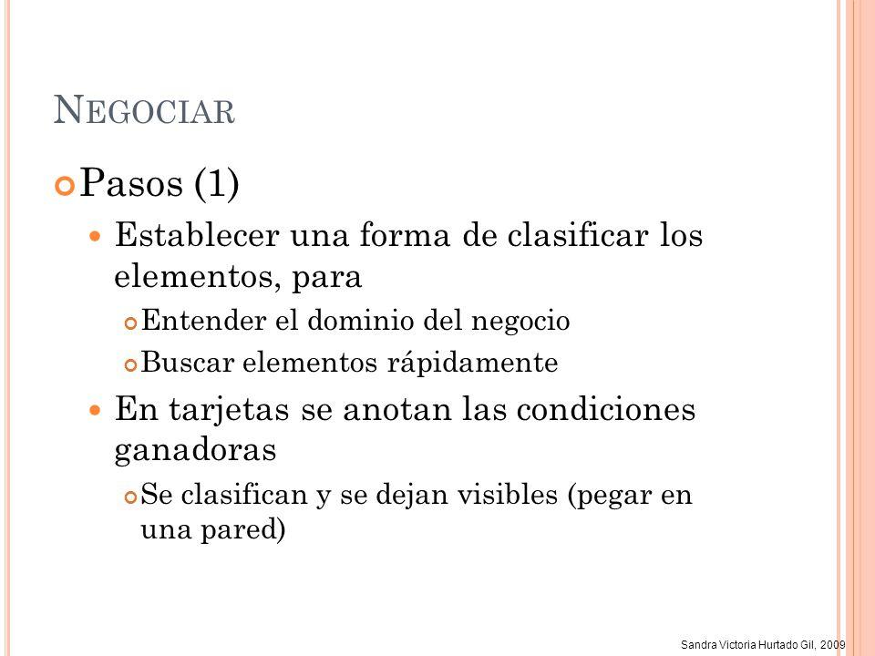 Sandra Victoria Hurtado Gil, 2009 N EGOCIAR Pasos (1) Establecer una forma de clasificar los elementos, para Entender el dominio del negocio Buscar el