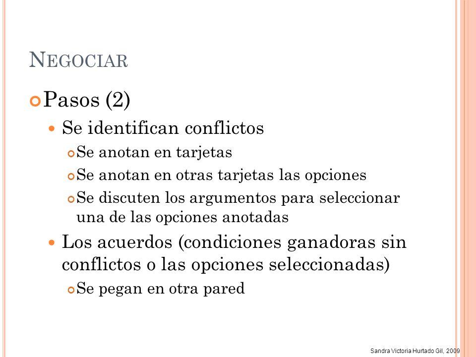Sandra Victoria Hurtado Gil, 2009 N EGOCIAR Pasos (2) Se identifican conflictos Se anotan en tarjetas Se anotan en otras tarjetas las opciones Se disc