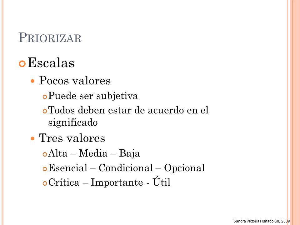 Sandra Victoria Hurtado Gil, 2009 P RIORIZAR Escalas Pocos valores Puede ser subjetiva Todos deben estar de acuerdo en el significado Tres valores Alt