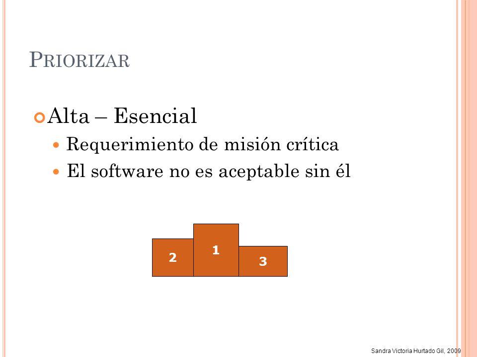 Sandra Victoria Hurtado Gil, 2009 P RIORIZAR Alta – Esencial Requerimiento de misión crítica El software no es aceptable sin él 2 1 3