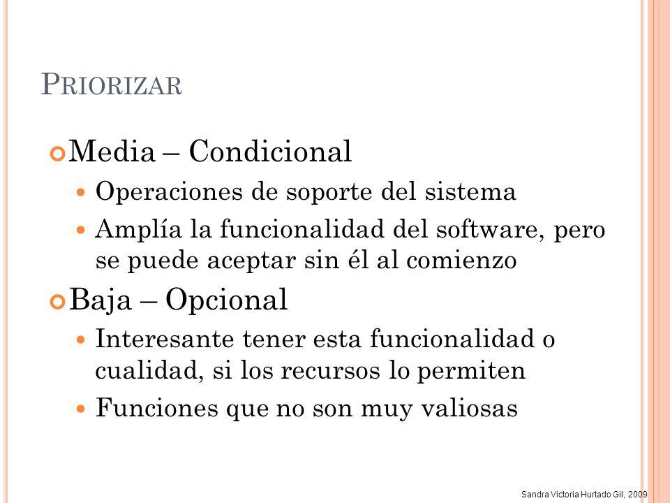 Sandra Victoria Hurtado Gil, 2009 P RIORIZAR Pasos (2) Estimar el costo de no tener la función (1 bajo, 9 alto) Valor = Suma del beneficio y el costo Se puede dar un peso a cada uno Estimar el costo de implementar la función (1 bajo, 9 alto) Complejidad, Interfaz de usuario, … Determinado por los desarrolladores