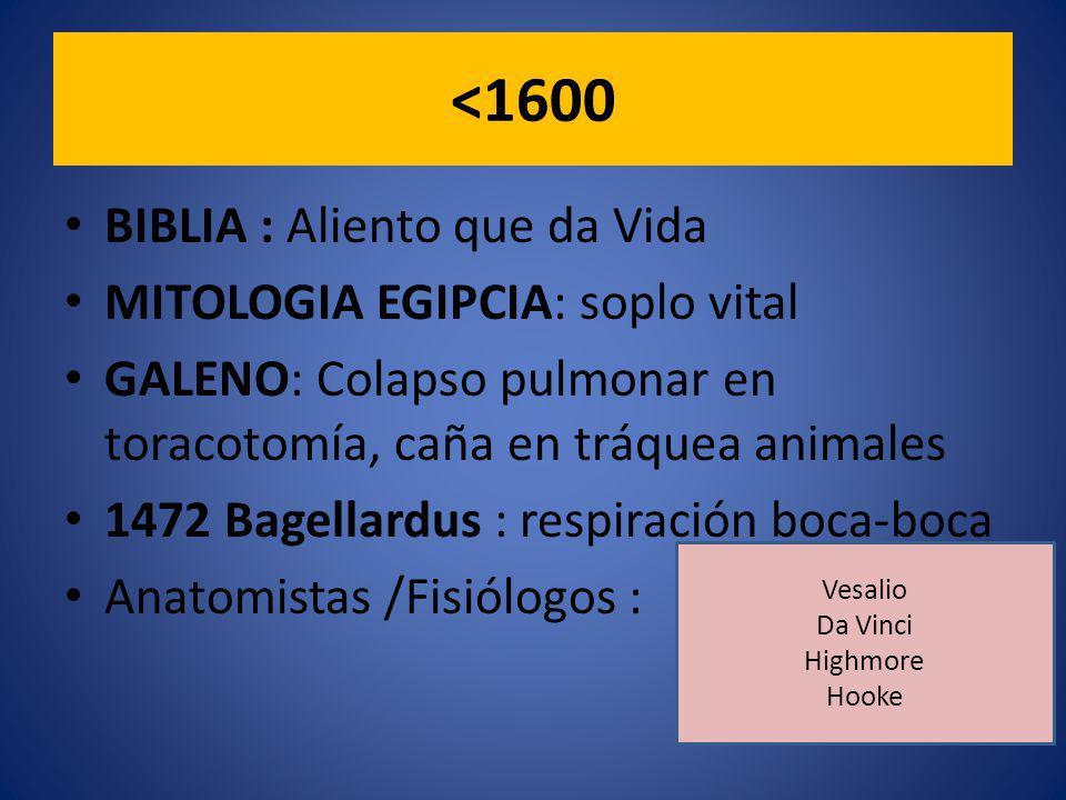 <1600 BIBLIA : Aliento que da Vida MITOLOGIA EGIPCIA: soplo vital GALENO: Colapso pulmonar en toracotomía, caña en tráquea animales 1472 Bagellardus : respiración boca-boca Anatomistas /Fisiólogos : Vesalio Da Vinci Highmore Hooke